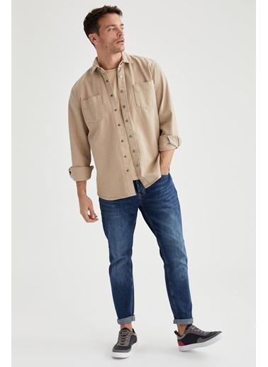 DeFacto Uzun Kollu Regular Fit Pamuklu Gömlek Bej